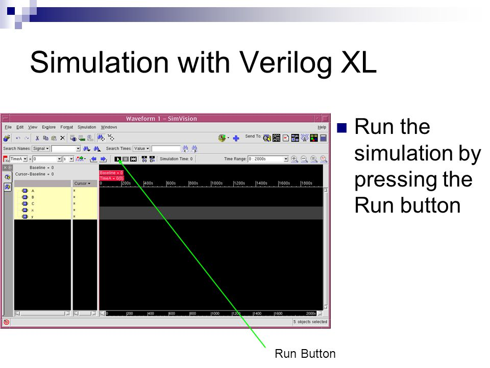 Simulation with Verilog XL Run the simulation by pressing the Run button Run Button
