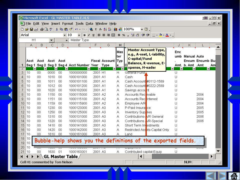 Export to Excel 3 Bubble-help shows you the definitions of the exported fields.
