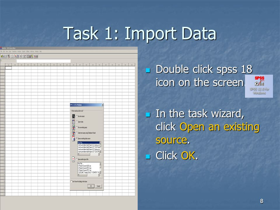 9 Task 1: Import Data Just in case wizard does not prompt, you can go to file Just in case wizard does not prompt, you can go to file -> Open -> Data