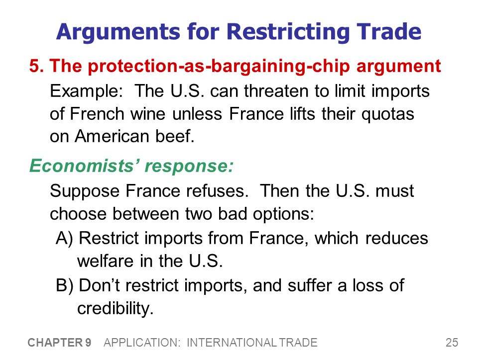 25 CHAPTER 9 APPLICATION: INTERNATIONAL TRADE Arguments for Restricting Trade 5. The protection-as-bargaining-chip argument Example: The U.S. can thre