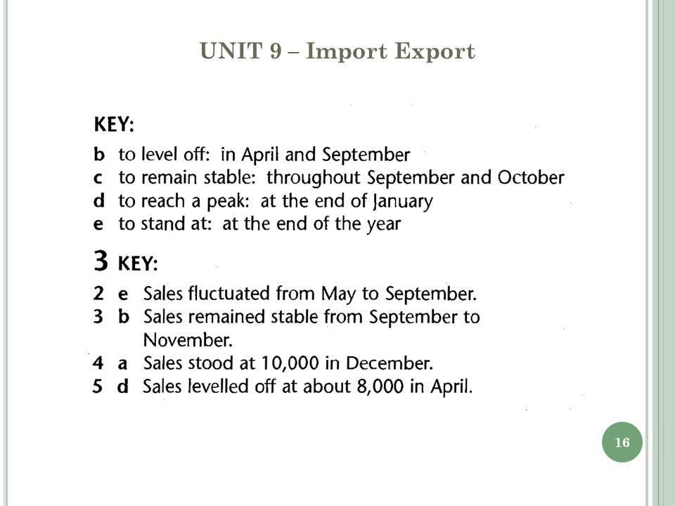 UNIT 9 – Import Export 16