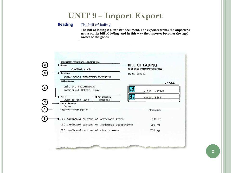 2 UNIT 9 – Import Export
