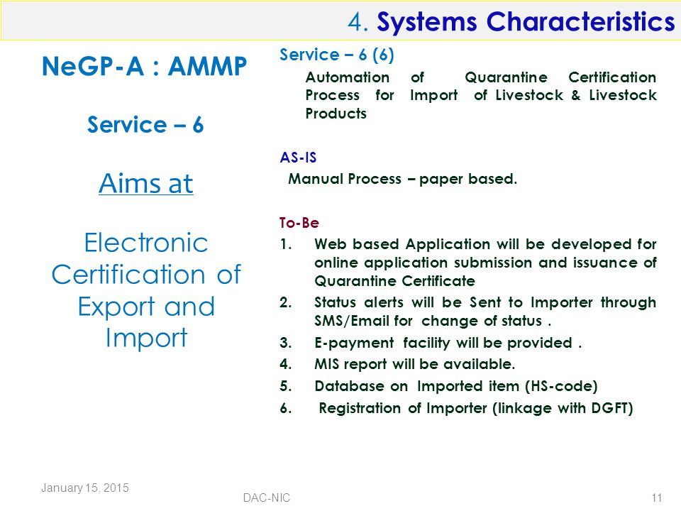 NeGP-A : AMMP Service – 6 (6) Automation of Quarantine Certification Process for Import of Livestock & Livestock Products AS-IS Manual Process – paper based.