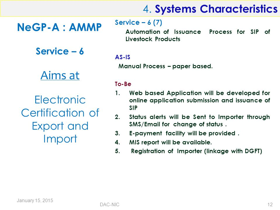 NeGP-A : AMMP Service – 6 (7) Automation of Issuance Process for SIP of Livestock Products AS-IS Manual Process – paper based.