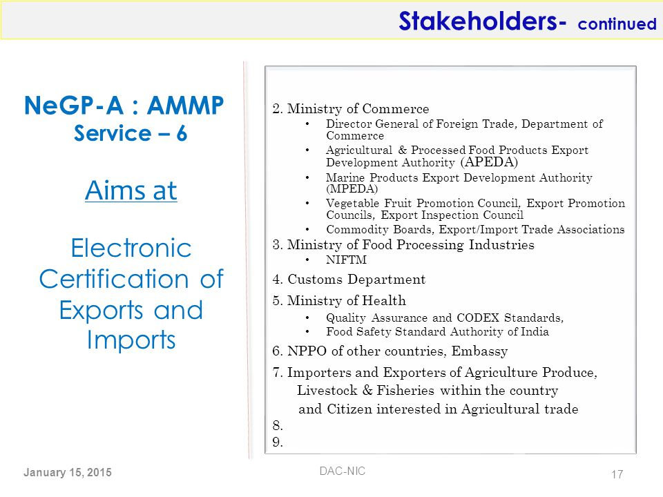 NeGP-A : AMMP 2. Ministry of Commerce Director General of Foreign Trade, Department of Commerce Agricultural & Processed Food Products Export Developm