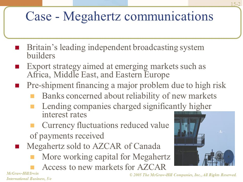McGraw-Hill/Irwin International Business, 5/e © 2005 The McGraw-Hill Companies, Inc., All Rights Reserved. 15-2 Case - Megahertz communications Britai