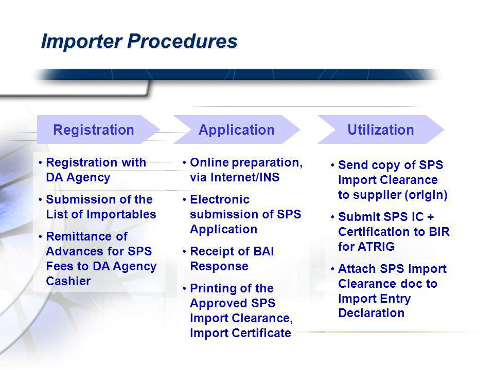 Importer Procedures RegistrationUtilizationApplication Registration with DA Agency Submission of the List of Importables Remittance of Advances for SPS Fees to DA Agency Cashier Send copy of SPS Import Clearance to supplier (origin) Submit SPS IC + Certification to BIR for ATRIG Attach SPS import Clearance doc to Import Entry Declaration Online preparation, via Internet/INS Electronic submission of SPS Application Receipt of BAI Response Printing of the Approved SPS Import Clearance, Import Certificate