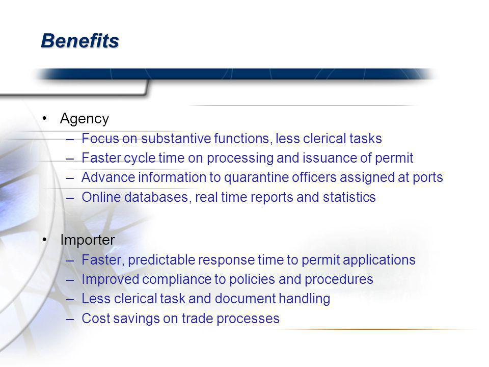 Benefits Agency –Focus on substantive functions, less clerical tasks –Faster cycle time on processing and issuance of permit –Advance information to quarantine officers assigned at ports –Online databases, real time reports and statistics Importer –Faster, predictable response time to permit applications –Improved compliance to policies and procedures –Less clerical task and document handling –Cost savings on trade processes
