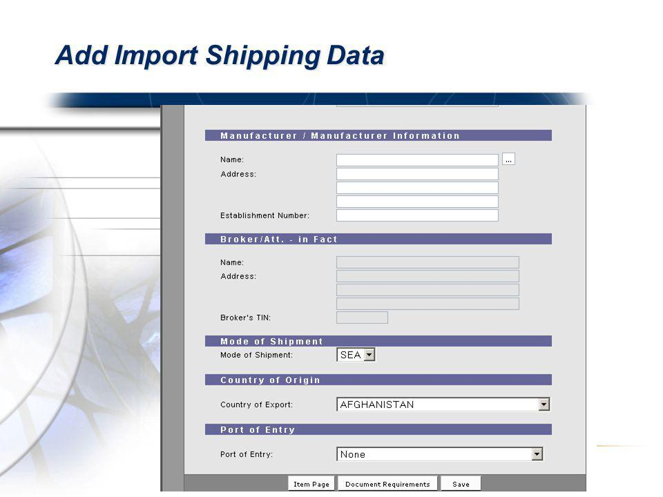 Add Import Shipping Data
