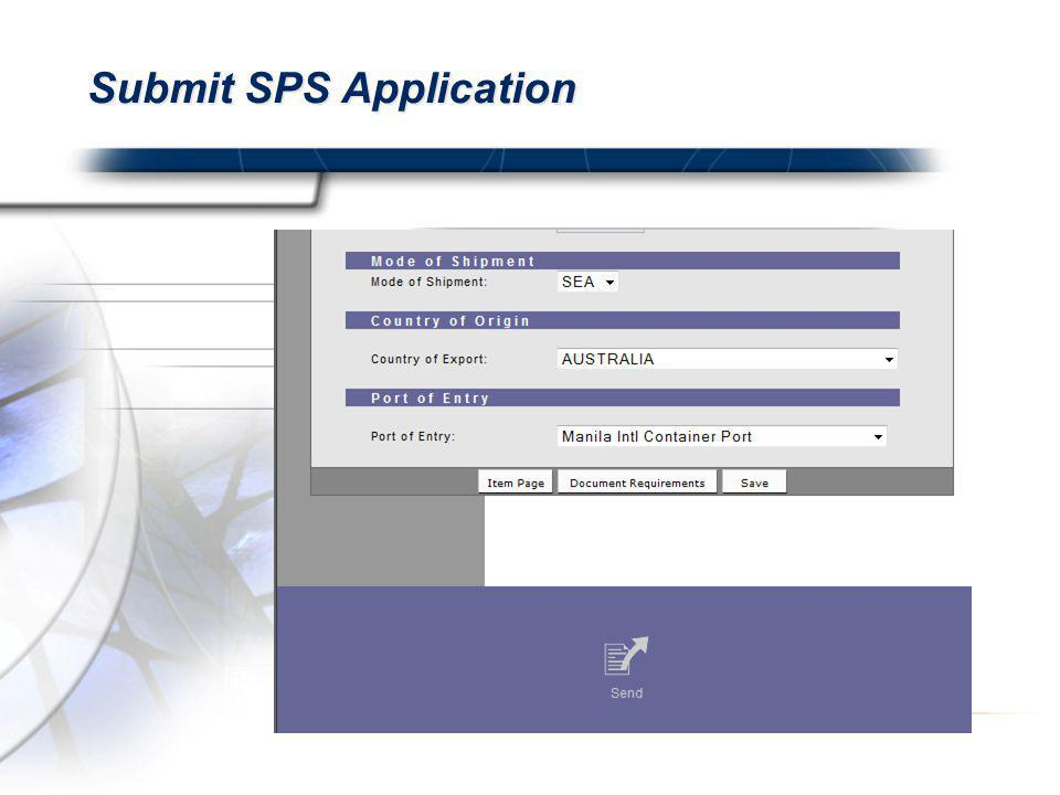 Submit SPS Application