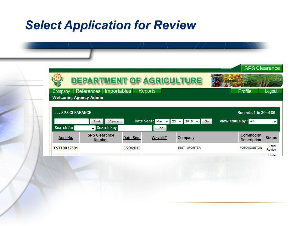 Select Application for Review