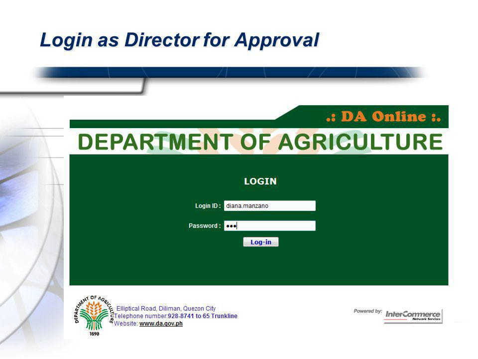 Login as Director for Approval