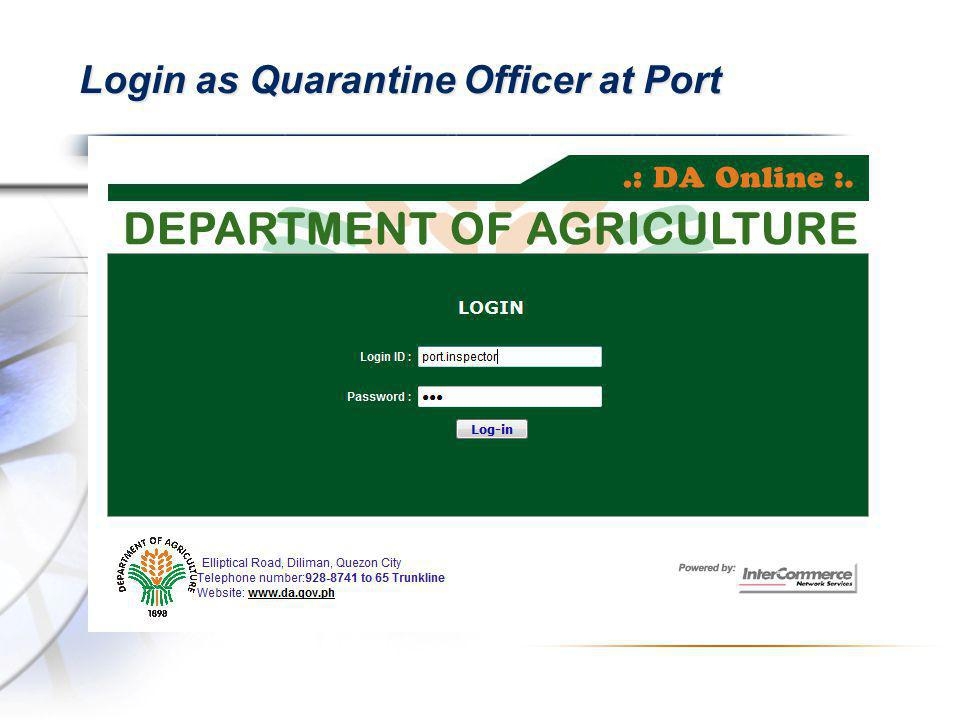 Login as Quarantine Officer at Port