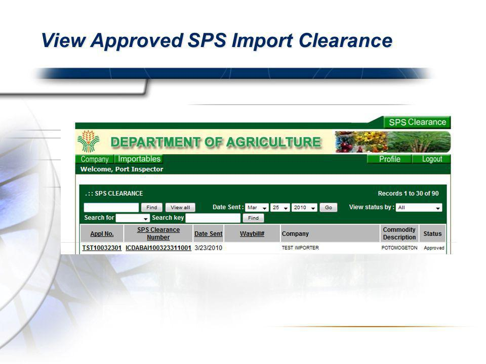 View Approved SPS Import Clearance