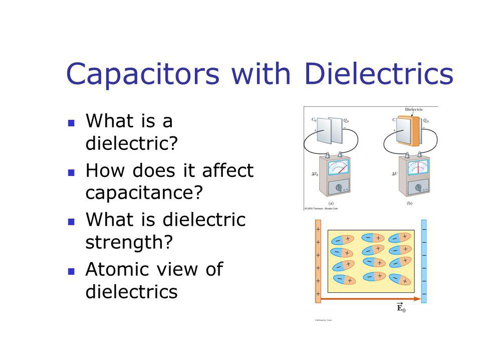 Capacitors with Dielectrics What is a dielectric? How does it affect capacitance? What is dielectric strength? Atomic view of dielectrics