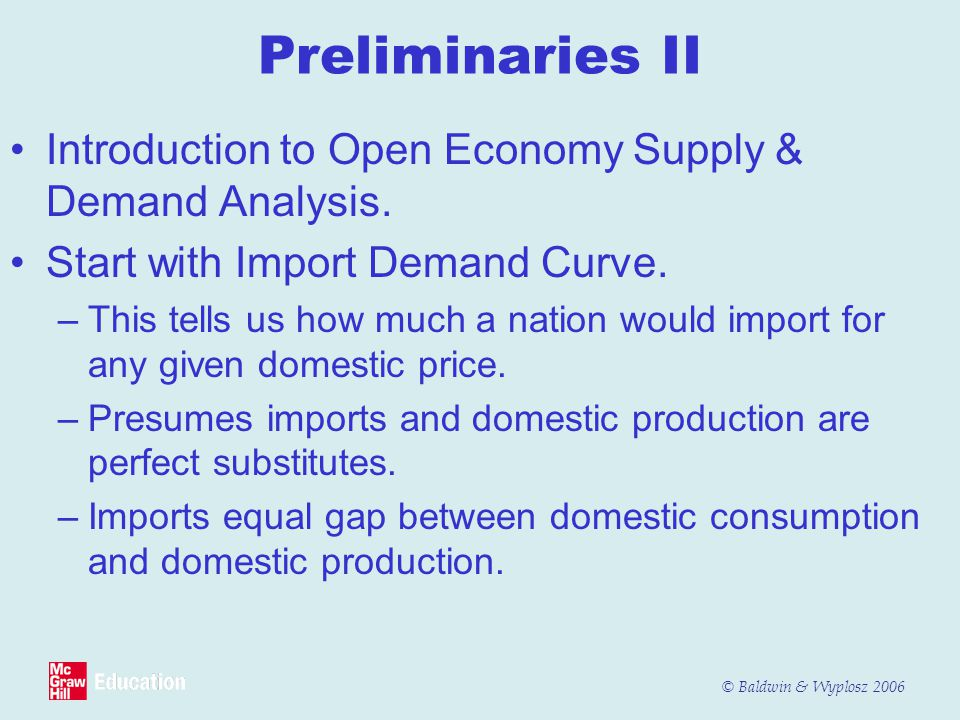 © Baldwin & Wyplosz 2006 Preliminaries II Introduction to Open Economy Supply & Demand Analysis. Start with Import Demand Curve. –This tells us how mu