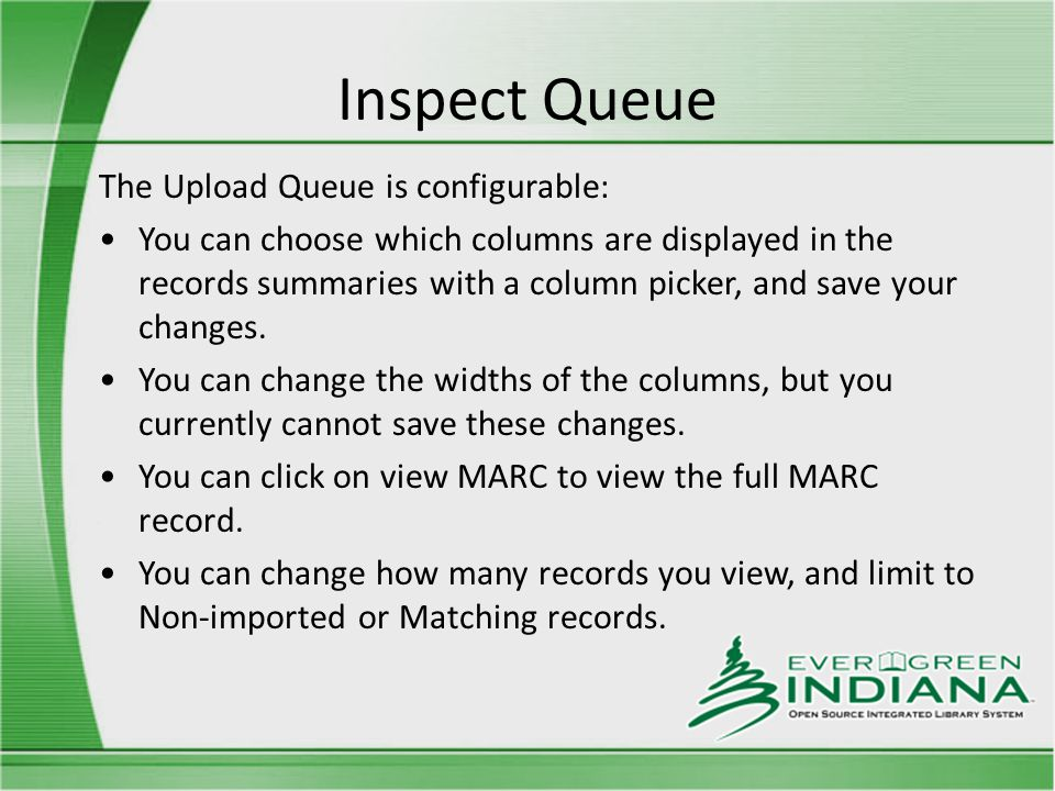 Inspect Queue The Upload Queue is configurable: You can choose which columns are displayed in the records summaries with a column picker, and save your changes.