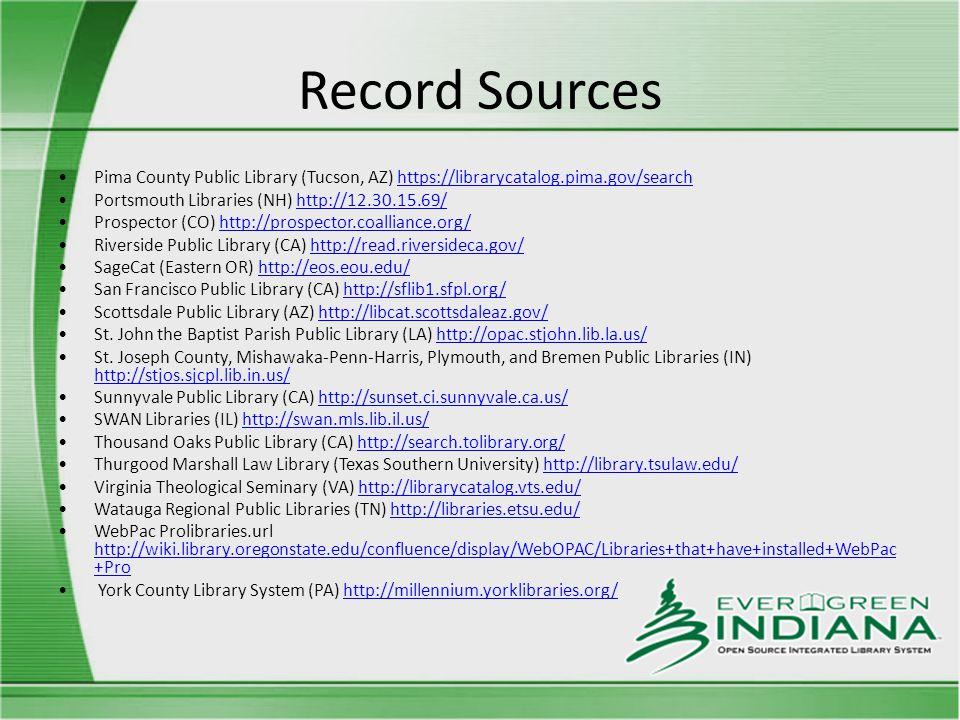 Record Sources Pima County Public Library (Tucson, AZ) https://librarycatalog.pima.gov/searchhttps://librarycatalog.pima.gov/search Portsmouth Librari