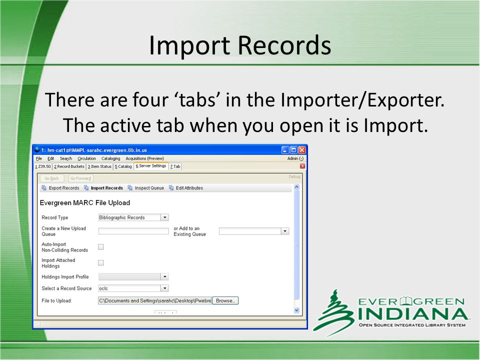 Import Records There are four 'tabs' in the Importer/Exporter.