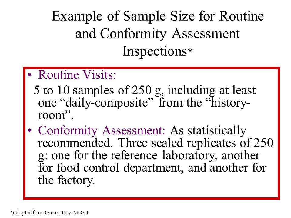 Example of Sample Size for Routine and Conformity Assessment Inspections * Routine Visits: 5 to 10 samples of 250 g, including at least one daily-composite from the history- room .