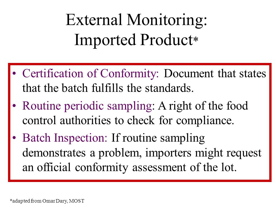 External Monitoring: Imported Product * Certification of Conformity: Document that states that the batch fulfills the standards.