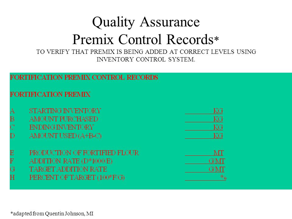 Quality Assurance Premix Control Records * TO VERIFY THAT PREMIX IS BEING ADDED AT CORRECT LEVELS USING INVENTORY CONTROL SYSTEM.