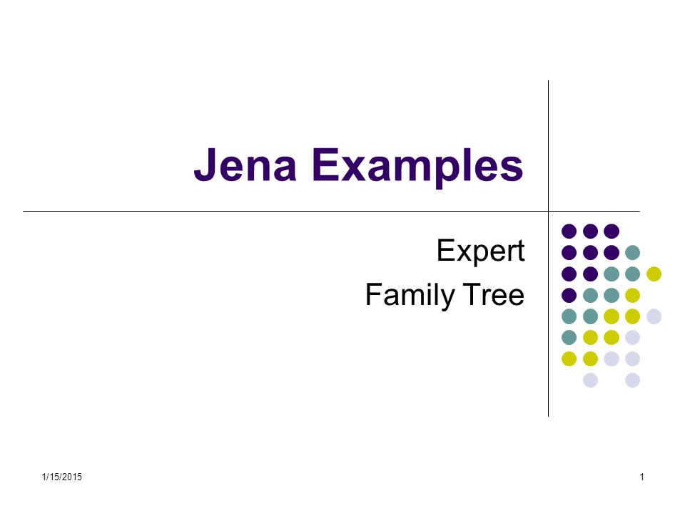 1/15/201522 Creating a simple RDF model import java.util.*; import java.io.*; import com.hp.hpl.jena.rdf.model.*; import com.hp.hpl.jena.util.FileManager; //A small family tree held in a Jena Model public class FamilyModel { // Namespace declarations static final String familyUri = http://family/ ; static final String relationshipUri = http://purl.org/vocab/relationship/ ; public static void main(String args[]) { // Create an empty Model Model model = ModelFactory.createDefaultModel();...