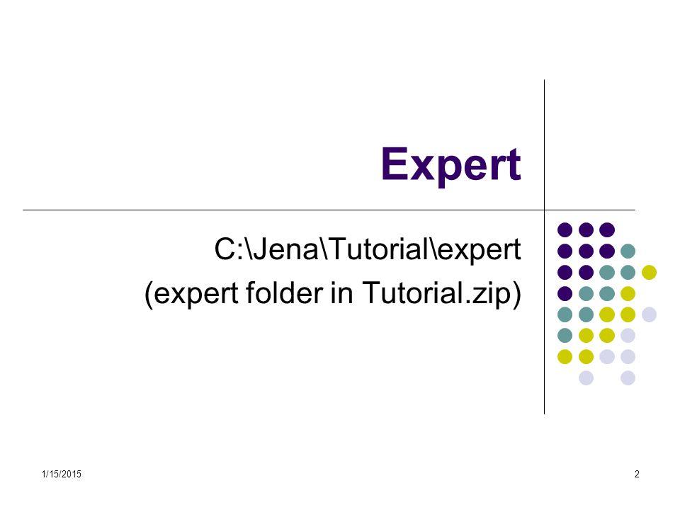 1/15/201513 Expert – getProperty method public static void getProperty(OntModel model) { String NS = http://www.owl-ontologies.com/Expert.owl# ; /* get the Expert class */ OntClass expert = model.getOntClass(NS + Expert ); // print out the name of the Expert class System.out.println(expert.getLocalName()); // get the instances of the Expert class Iterator it = expert.listInstances(); // print out the instances of the Expert class while (it.hasNext()) { Individual oi = (Individual) it.next(); System.out.println(oi.getLocalName()); //get the properties of the instances of the Expert class for (Iterator ipp = expert.listDeclaredProperties(); ipp.hasNext();) { OntProperty p = (OntProperty) ipp.next(); //print out property name and its values System.out.println( p.getLocalName()); for (Iterator ivv = oi.listPropertyValues(p); ivv.hasNext();) { String valuename = ivv.next().toString(); System.out.println(valuename); }} }