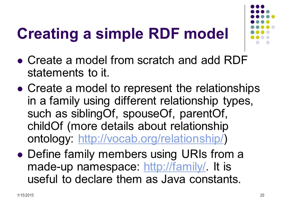 1/15/201520 Creating a simple RDF model Create a model from scratch and add RDF statements to it. Create a model to represent the relationships in a f