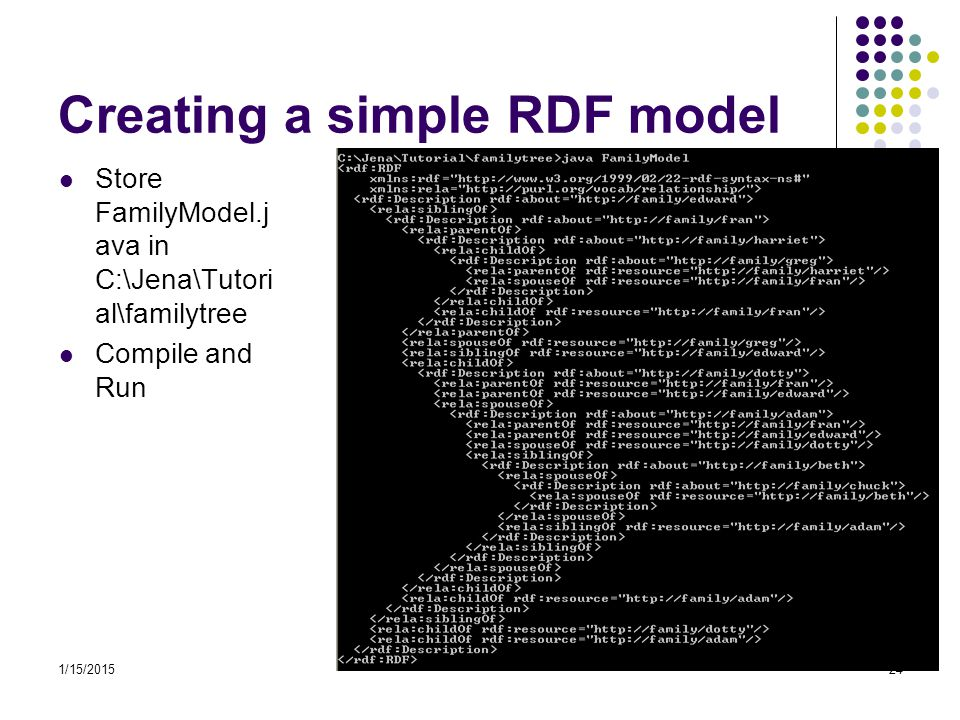 1/15/201524 Creating a simple RDF model Store FamilyModel.j ava in C:\Jena\Tutori al\familytree Compile and Run