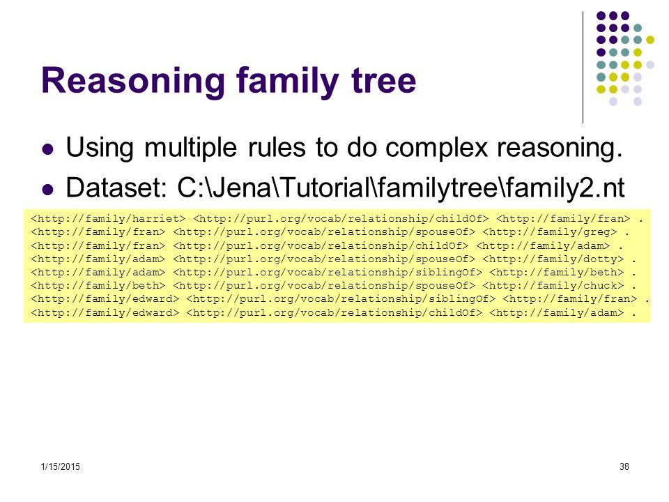 1/15/201538 Reasoning family tree Using multiple rules to do complex reasoning. Dataset: C:\Jena\Tutorial\familytree\family2.nt.