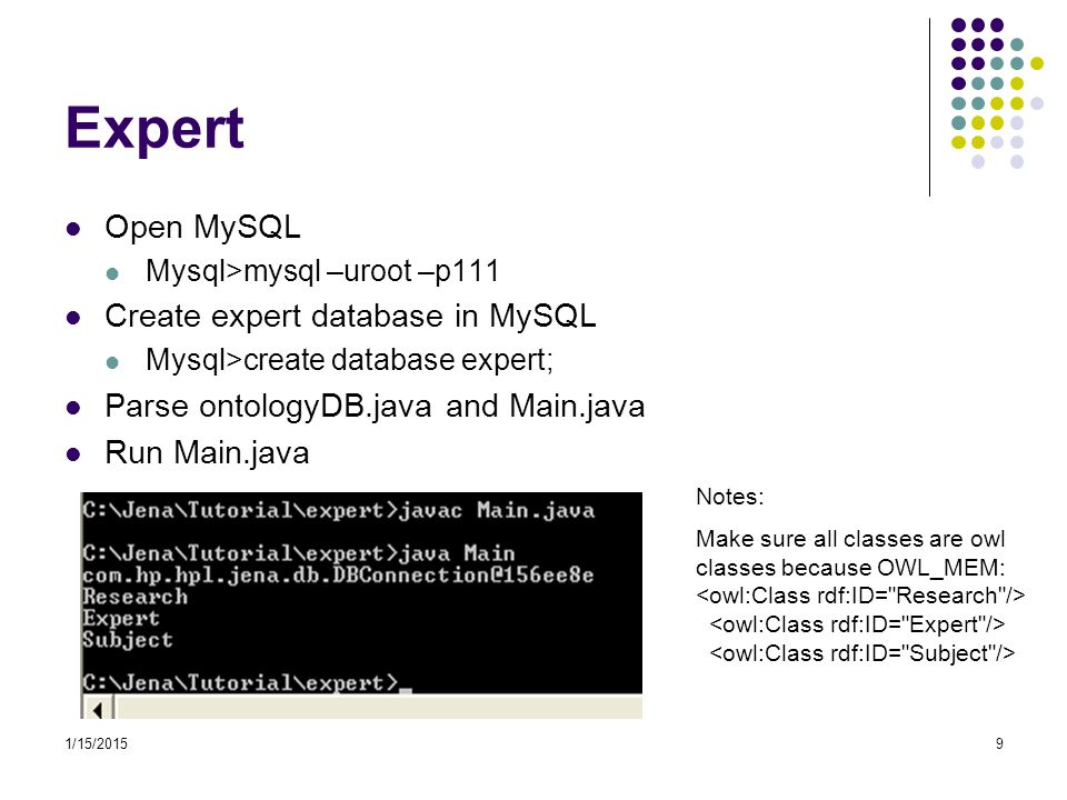1/15/201510 Expert - Class Main.java Not using method to output class of the ontology Main1.java Using defined SimpleReadOntology method to output class of the ontology public static void SimpleReadOntology(OntModel model) { for (Iterator i = model.listClasses(); i.hasNext();) { OntClass c = (OntClass) i.next(); System.out.println(c.getLocalName()); }