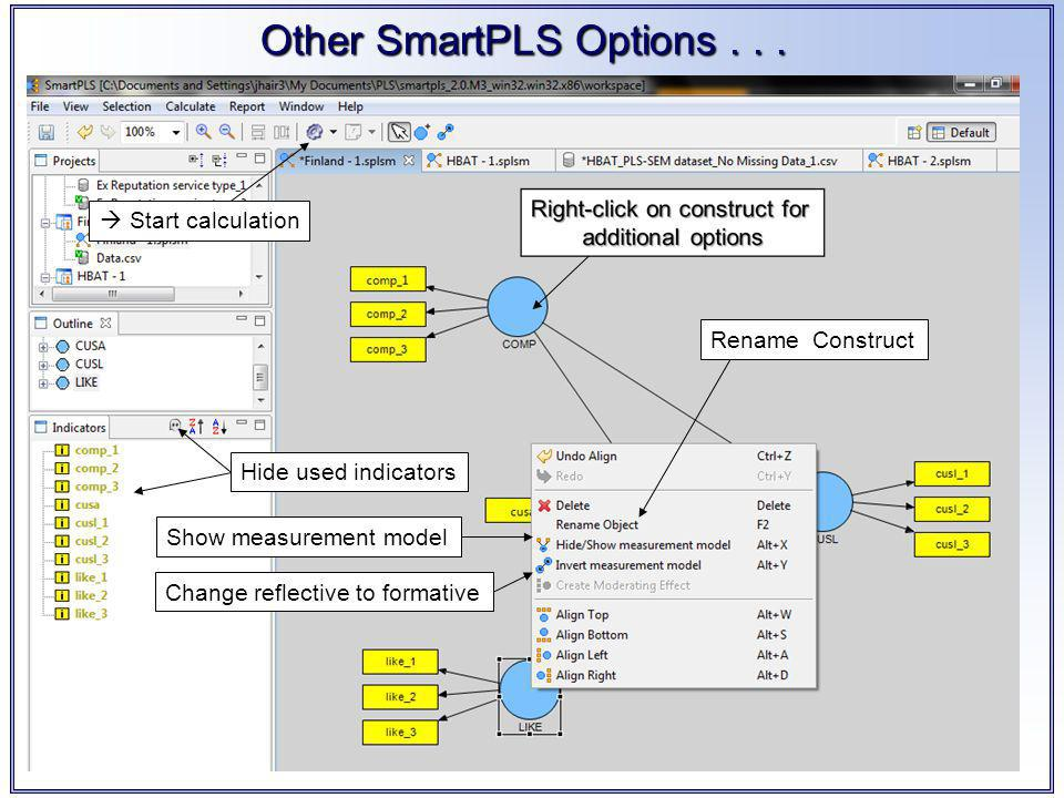 Other SmartPLS Options...