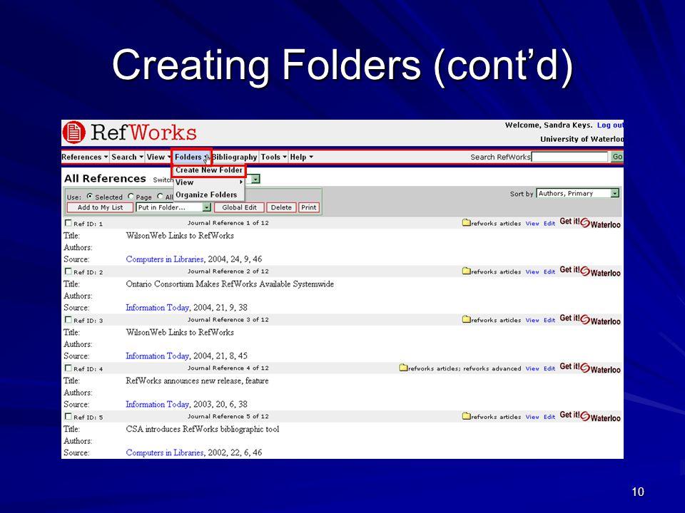 10 Creating Folders (cont'd)