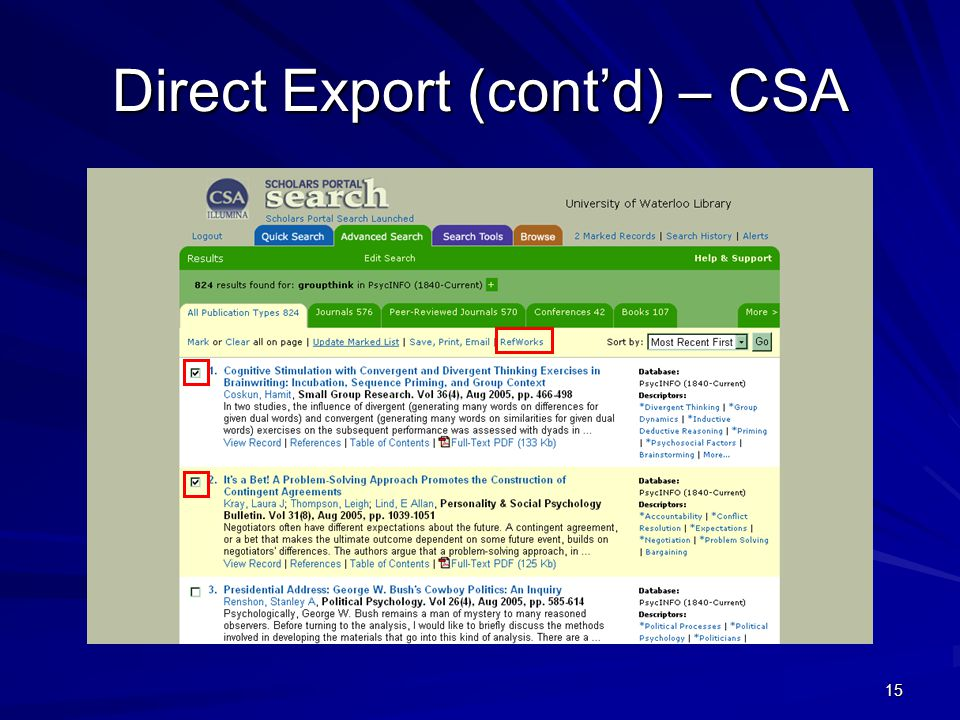 15 Direct Export (cont'd) – CSA