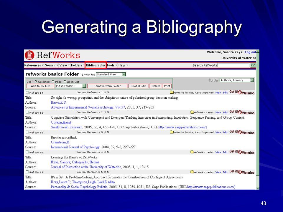 43 Generating a Bibliography