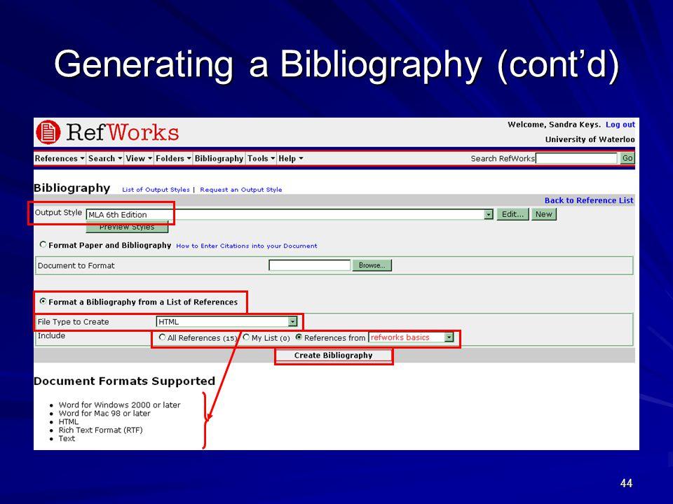 44 Generating a Bibliography (cont'd)
