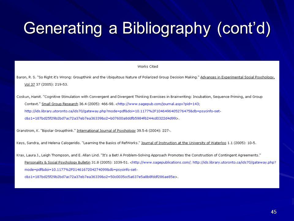 45 Generating a Bibliography (cont'd)