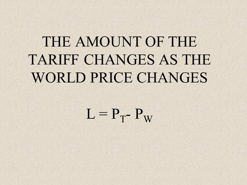 THE AMOUNT OF THE TARIFF CHANGES AS THE WORLD PRICE CHANGES L = P T - P W