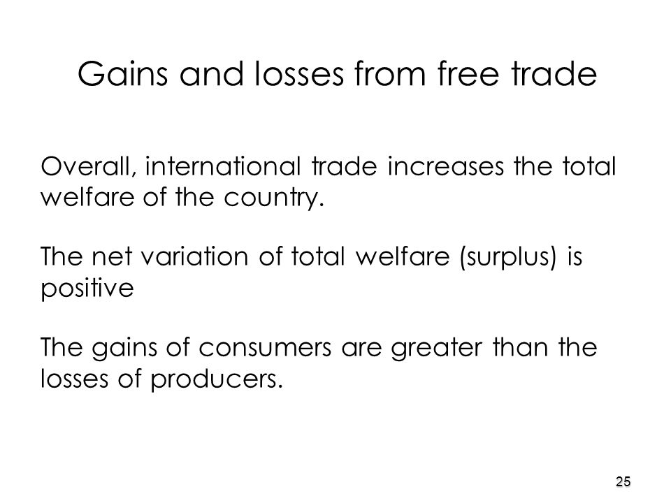 25 Overall, international trade increases the total welfare of the country.