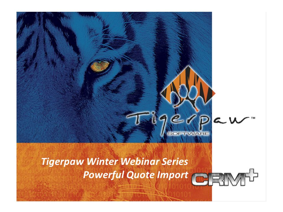 Business Management Solutions Since 1984 Tigerpaw CRM+ What's New in 2005 What's New in Version 10 Tigerpaw Winter Webinar Series Powerful Quote Import