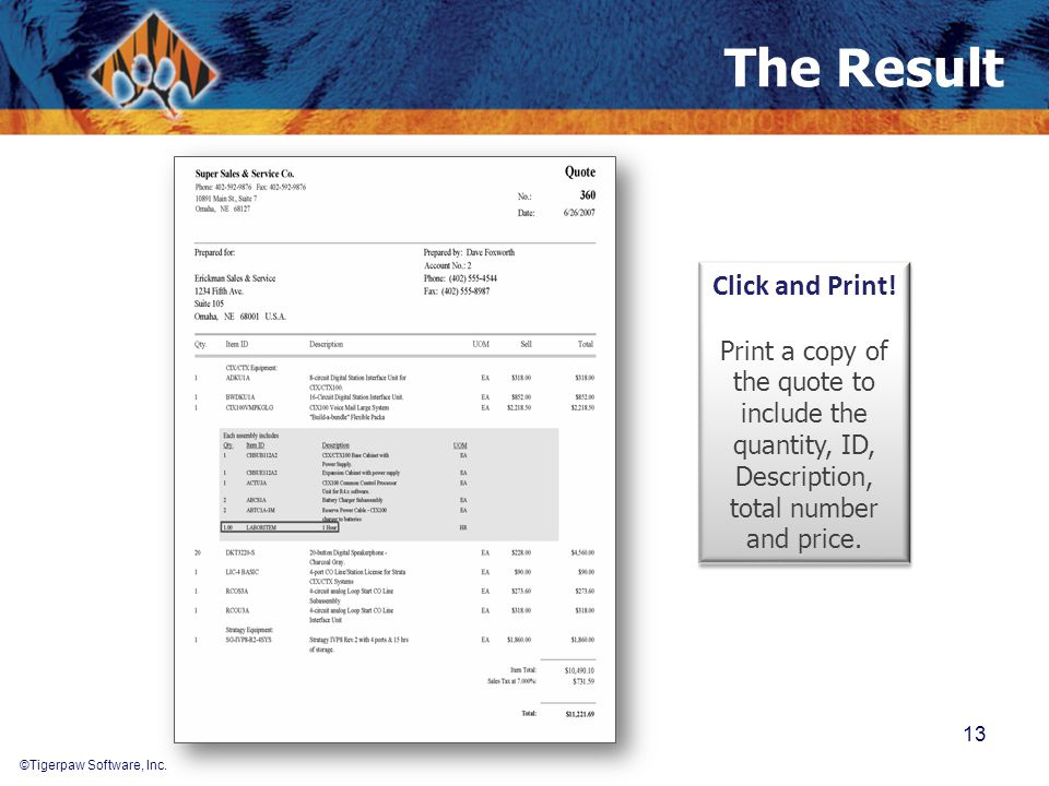 ©Tigerpaw Software, Inc. The Result 13 Click and Print! Print a copy of the quote to include the quantity, ID, Description, total number and price. Cl