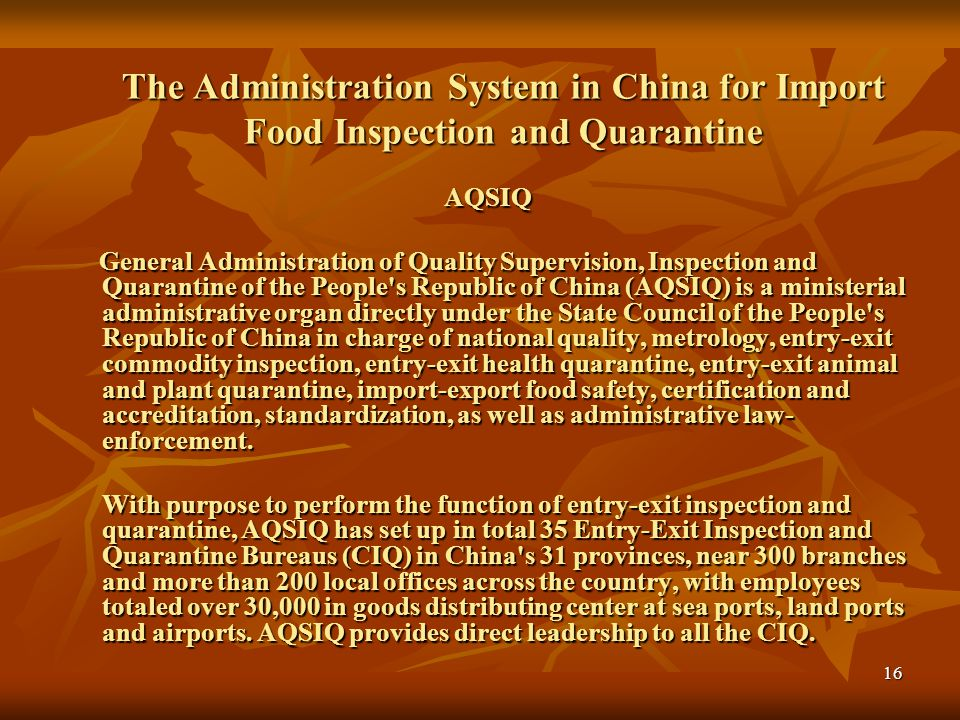 17 Food Safety Management Food Safety Management The recent Chinese National People's Congress has approved the Chinese Food Safety Law which is to become effective June 1, 2009.