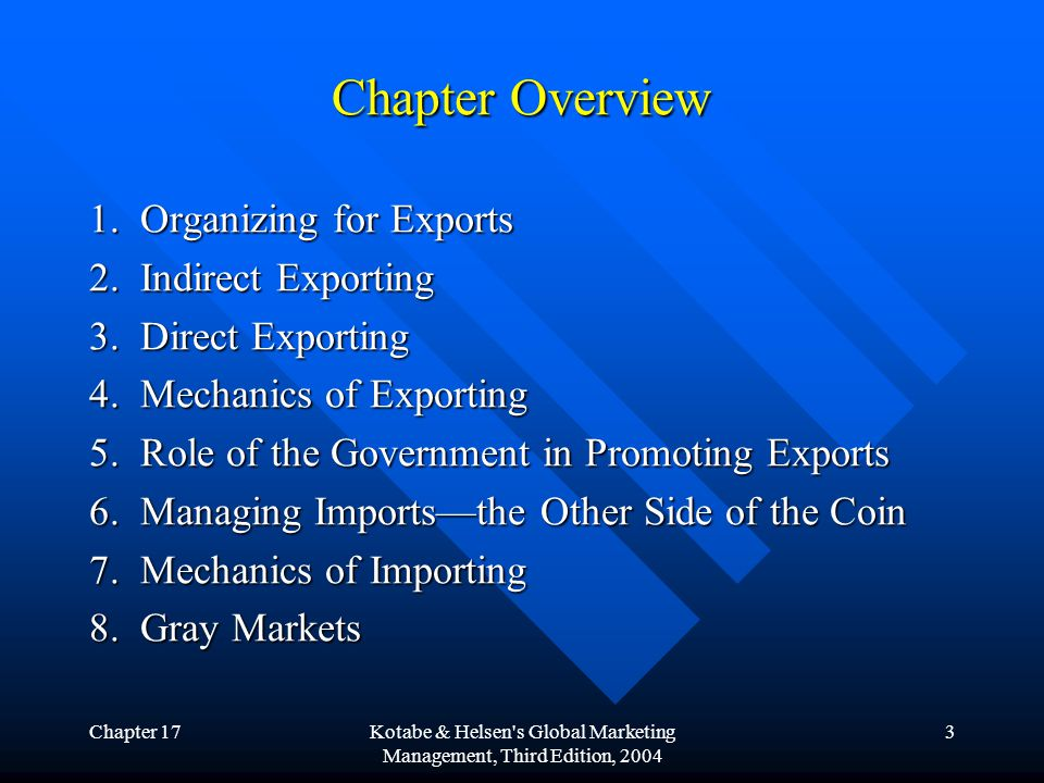 Chapter 17Kotabe & Helsen's Global Marketing Management, Third Edition, 2004 3 Chapter Overview 1. Organizing for Exports 2. Indirect Exporting 3. Dir