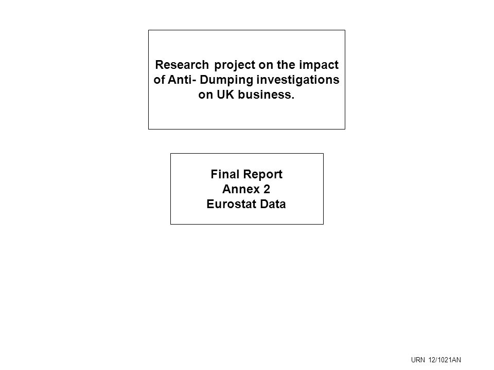 Research project on the impact of Anti- Dumping investigations on UK business.