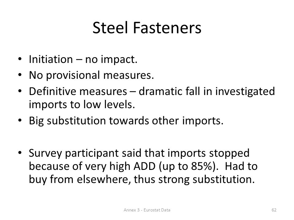 Steel Fasteners Initiation – no impact. No provisional measures.