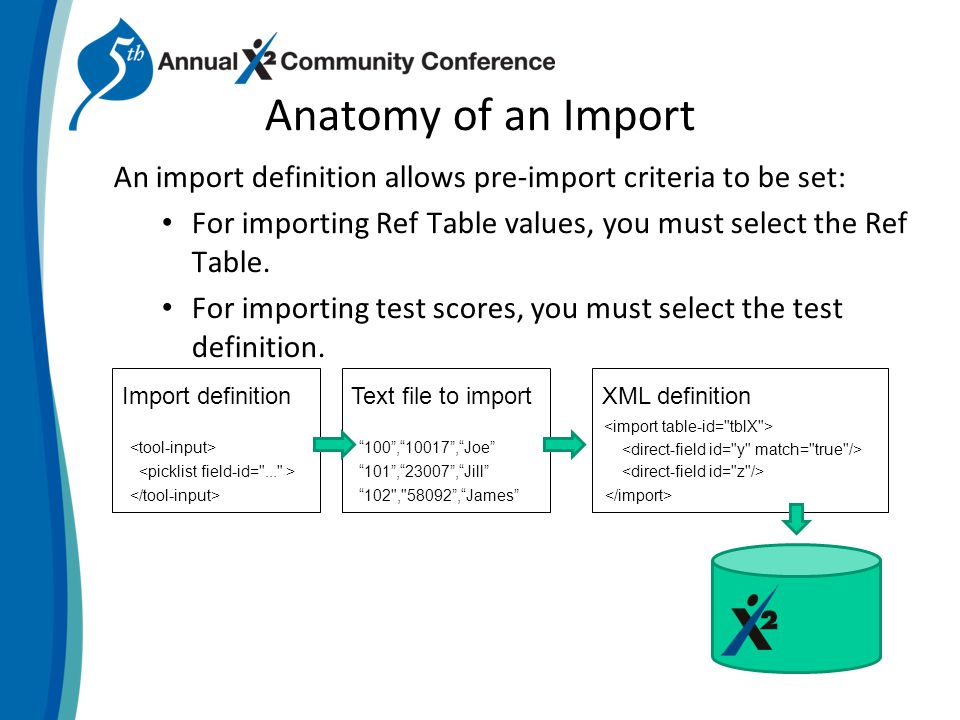 Anatomy of an Import An import definition allows pre-import criteria to be set: For importing Ref Table values, you must select the Ref Table.