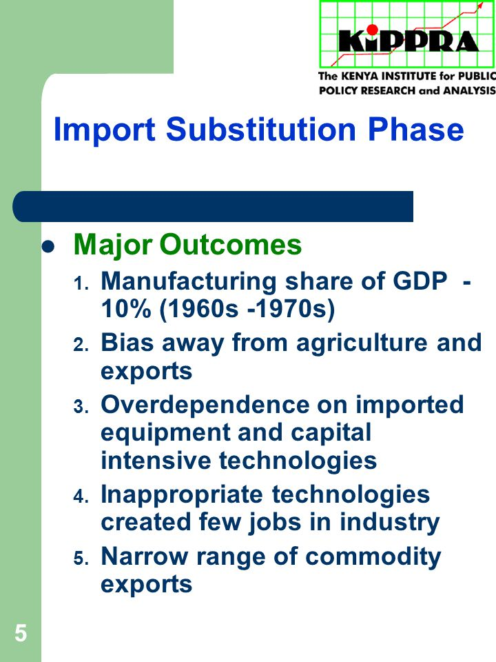 5 Import Substitution Phase Major Outcomes 1. Manufacturing share of GDP - 10% (1960s -1970s) 2.