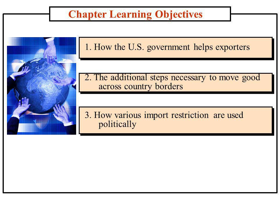 Chapter Learning Objectives 1. How the U.S. government helps exporters 2.