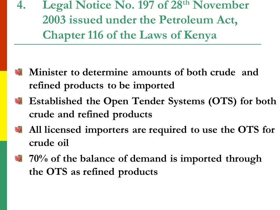 3.New Entrants After deregulation Ministry of Energy started licensing new entrants to enter the market The new entrants faced problems in accessing crude to meet base load requirements The majors also posted high crude price premia making them more uncompetitive This resulted in frequent defaults in meeting the base load requirements